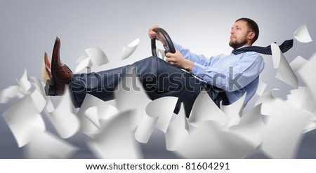 Businessman driver flying through the expanding white paper, concept
