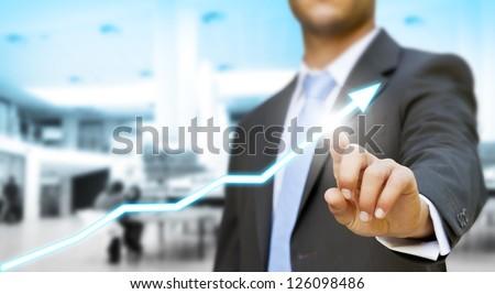 Businessman economy concept - stock photo
