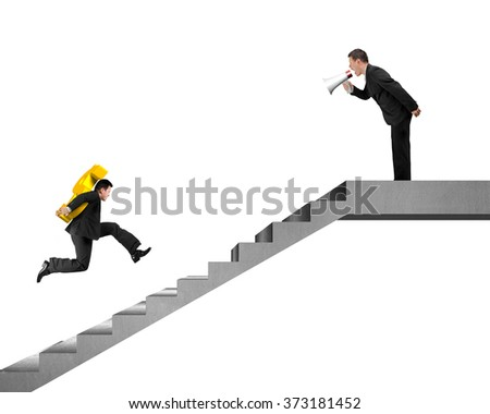 Businessman, employee  carrying USD running on concrete stairs with boss holding speaker yelling at