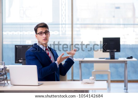 Businessman employee unhappy about absent employee