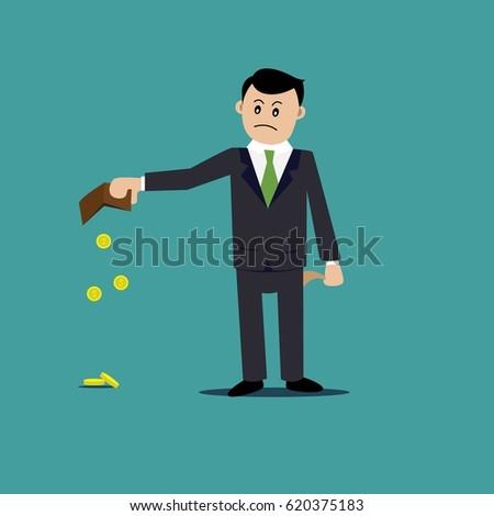 businessman. empty wallet, crisis, bankruptcy, poverty. cartoon illustration