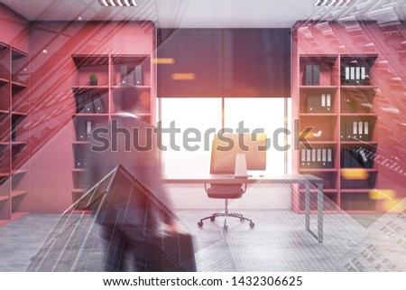 Businessman entering manager office with large computer table, concrete floor and pink bookcases with folders. Toned image double exposure blurred #1432306625