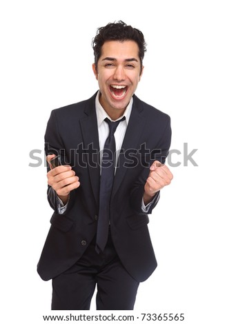 Businessman excited and Ecstatic isolated on white