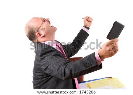 Businessman excited for hitting the targets