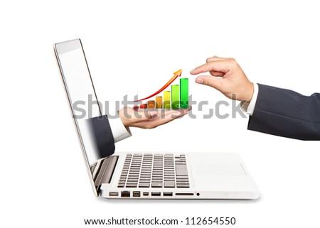 Businessman extending hand graph. Concept of business profits.