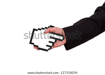 Businessman extends hand to shake with black pixel mouse cursor, pointer, isolated on white background.