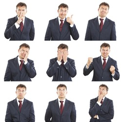 businessman face expressions composite isolated on white background