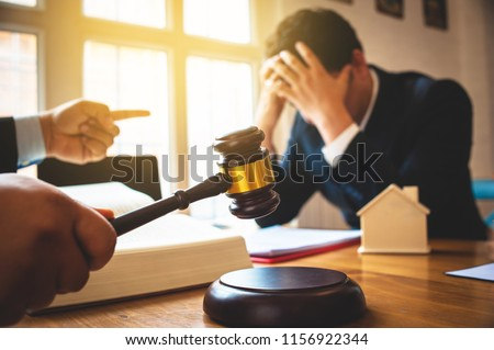 Businessman feels stressed when filed for bankruptcy, bankruptcy and execution concept.
