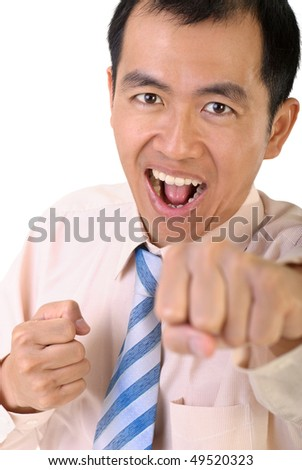 Businessman fighting by fist on white background.