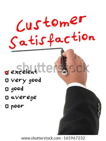 Businessman filling a customer satisfaction form