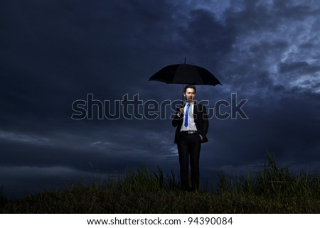 Businessman find the best solution out there - stock photo