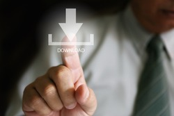 businessman finger click download, Businessman pushing button web download icon