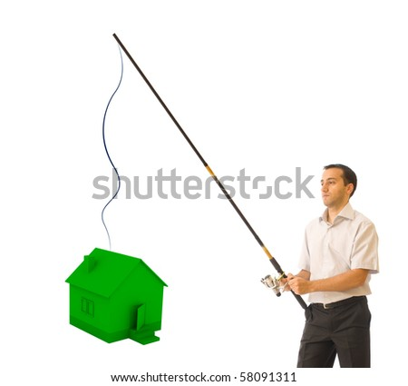 Businessman fishing a house