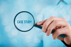 Businessman focused on case study. Businessman enlarge handwritten text case study.