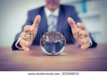 businessman forecasting a...