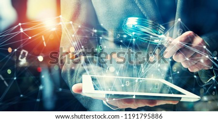 Businessman found a backdoor access on a tablet. Concept of internet security #1191795886