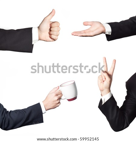 Businessman gestures isolated on white background