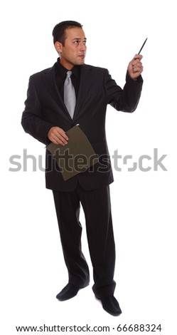 Businessman gesturing and pointing isolated on white - stock photo