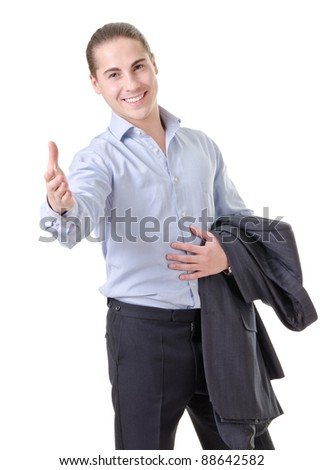 Businessman gesturing with emotions on a white background
