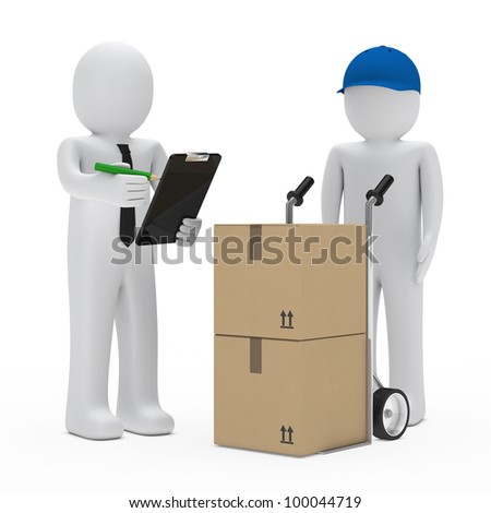businessman get a package delivery and signs
