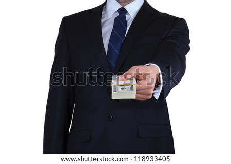 Businessman gives the money isolated on white background