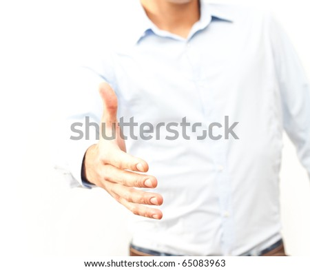 Businessman giving hand for agreement