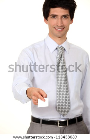 businessman giving his card