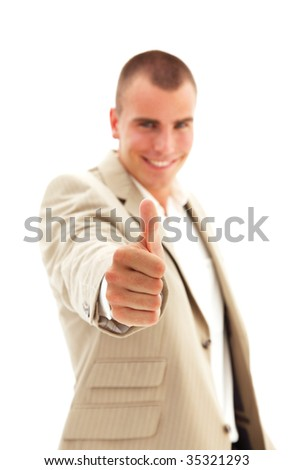 Businessman giving the thumbs-up