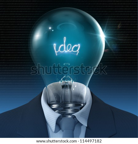 businessman glowing Idea inside Bulb 3D