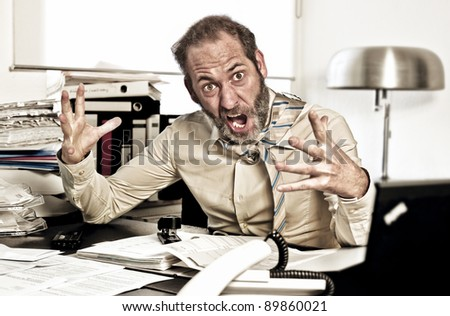 Businessman goes nuts while overworked