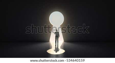 Businessman goes through the keyhole. 3D rendering. Foto stock ©
