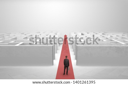 Businessman going straight ahead on a red carpet arrow between two maze #1401261395