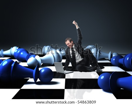 businessman got success on virtual chess - stock photo
