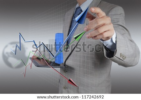 businessman hand and tablet computer working as concept modern business