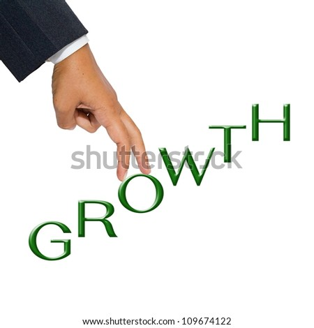 Businessman hand as finger walking step on Growth word