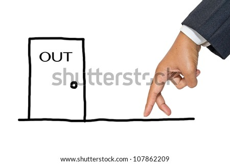 Businessman hand as finger walking to exit door