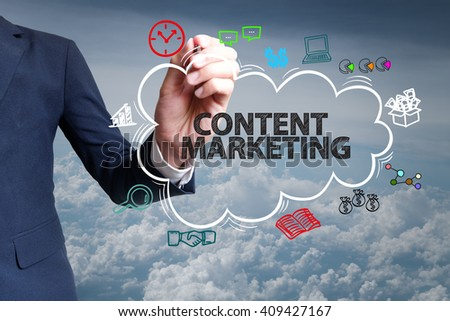 businessman hand draw cloud , icon cartoon with CONTENT MARKETING  text
