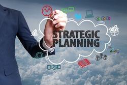 businessman hand draw cloud , icon cartoon with STRATEGIC PLANNING   text