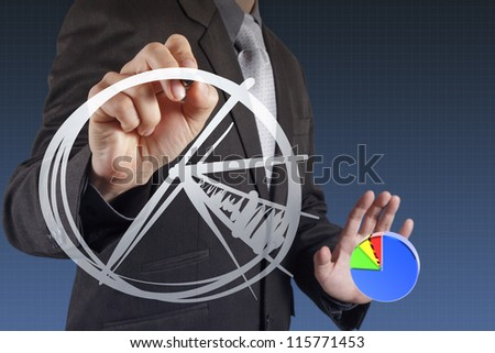 businessman hand drawing a pie chart and 3d