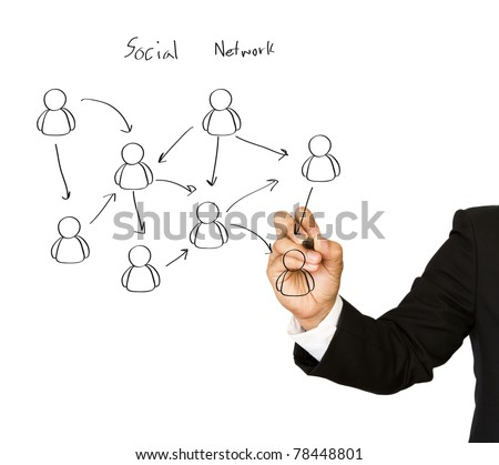 Businessman hand  drawing a social network scheme on a whiteboard - stock photo