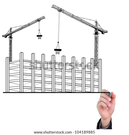Businessman hand drawing building development concept isolated on white background.