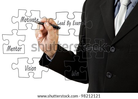 Photo of Businessman hand drawing business success