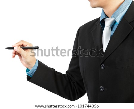 businessman hand drawing on white background