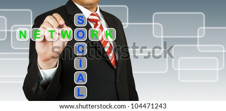 Businessman hand drawing Social Network