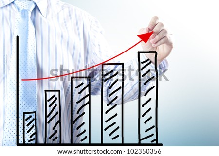 Businessman hand drawing the increase graph. Concept for growth, profit and gain