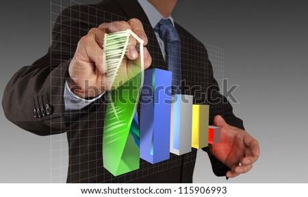 businessman hand draws virtual chart business