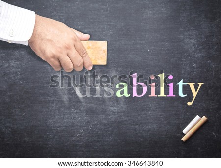 Businessman hand erased alphabet d, i, s from a chalkboard for changing to ABILITY. The word DISABILITY erased from a chalkboard. Concept of International Day of Persons with Disabilities, Can, Trust.