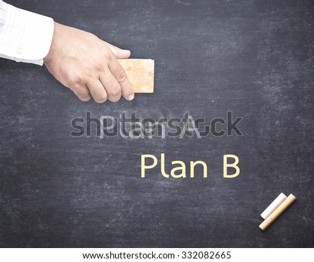 Businessman hand erased the word Plan A from a chalkboard for changing to Plan B. Change concept.