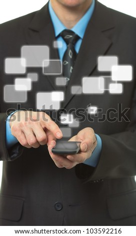 Businessman hand hold Touch screen mobile phone and virtual buttons