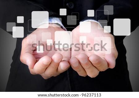 businessman hand holding a buttons